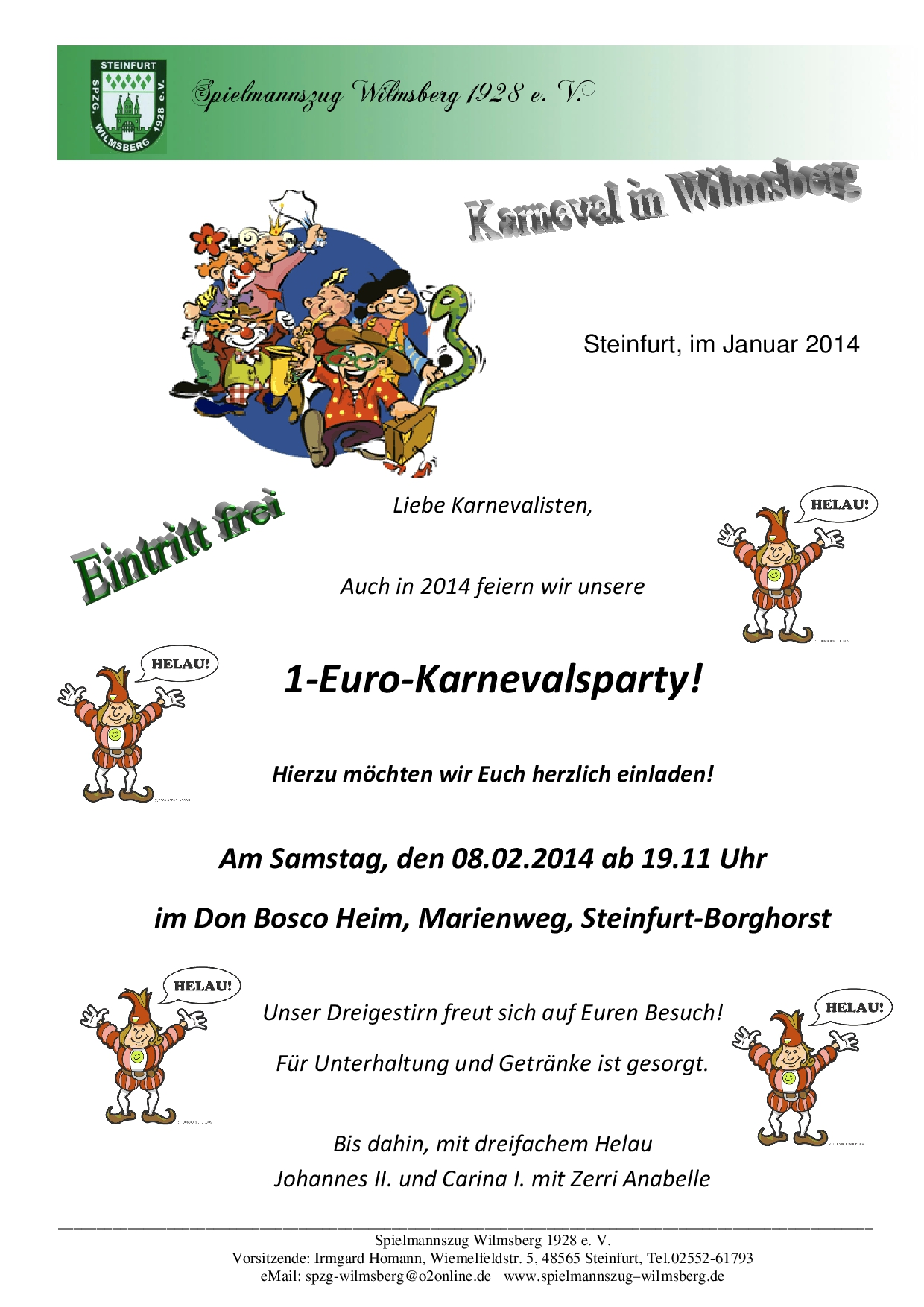 Einladung Karnevalsparty Spielmannszug Wilmsberg 1928 e. V.